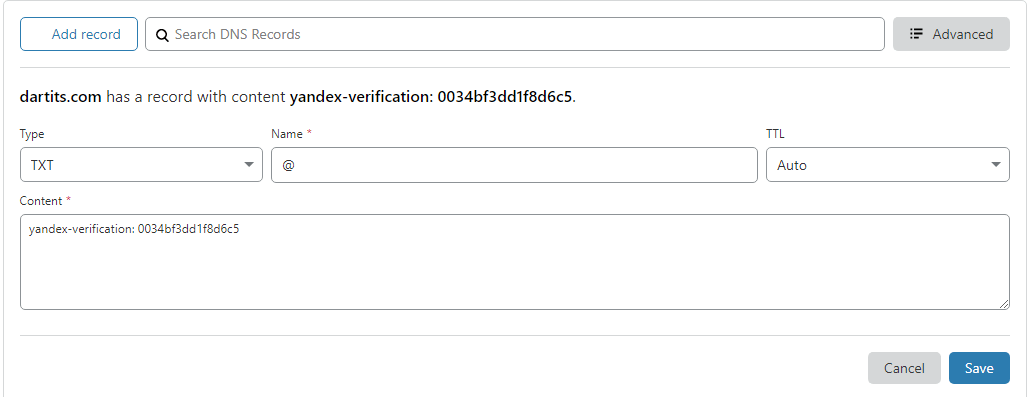 Yandex DNS configuration from Cloudflare
